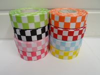 Bright Orange & White 2 metres or 20 metre roll x 25mm Grosgrain ribbon square chequered block race track finish line